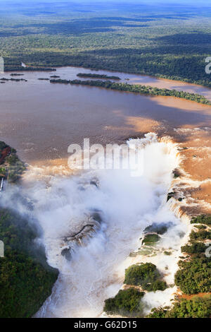 Aerial view of the Devil's Throat at the Iguassu Falls on the border with Brazil and Argentina - Stock Photo