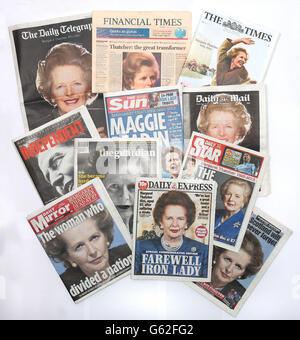 Baroness Thatcher death - Stock Photo