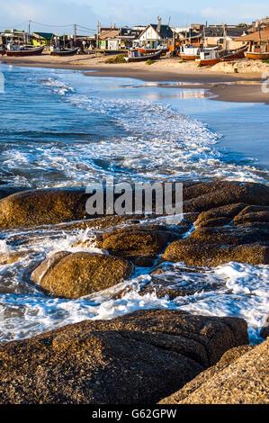 Punta del Diablo Beach, popular tourist site and Fisherman's place in the Uruguay Coast - Stock Photo