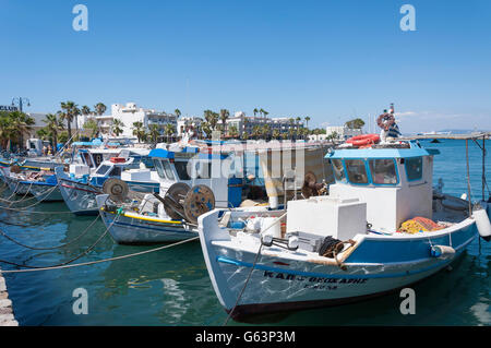 Traditional fishing boats in harbour, Kos Town, Kos (Cos), The Dodecanese, South Aegean Region, Greece - Stock Photo