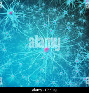Neural network, brain cells, nervous system. 3d illustration - Stock Photo