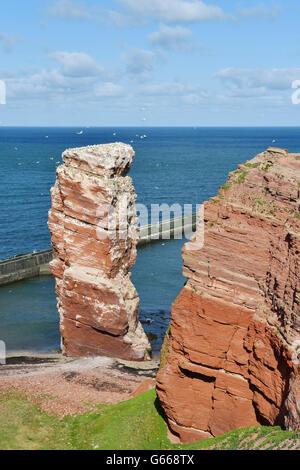 Rock needle, Lange Anna bird rocks, Heligoland, Schleswig-Holstein, Germany - Stock Photo