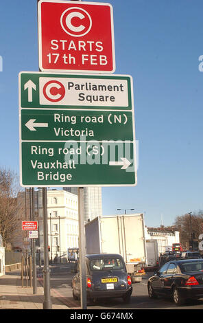 ROAD SIGN - CONGESTION CHARGE - Stock Photo