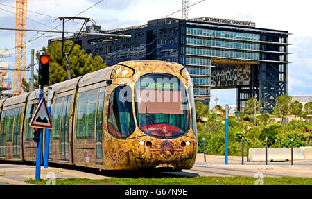 tramway Montpellier Herault France - Stock Photo