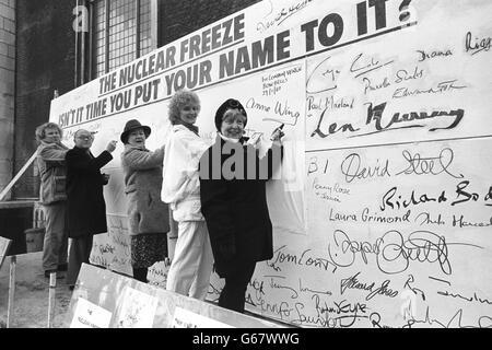 Nuclear Freeze Bandwagon - Celebrity Signatures - London - Stock Photo