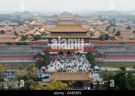 Beijing, China - October 18, 2015: Elevated view of the Forbidden City in Beijing, China. - Stock Photo