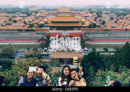 Beijing, China - October 18, 2015:Tourists at the Forbidden City in Beijing, China. - Stock Photo