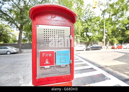 New York, USA - August 18, 2015: Police and Fire emergency call box located by the Central Park in New York City, - Stock Photo