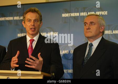 Blair & Ahern Talks - Stock Photo