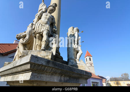 Plague / Holy Trinity Column, church hl . Nicholas, Au am Leithaberge, Austria, Niederösterreich, Lower Austria, - Stock Photo