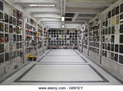 Inside Crematorium with plaques holding ashes. Pere Lachaise cemetery in Paris - Stock Photo