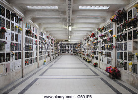 Inside Crematorium with plaques holding ashes. Pere Lachaise cemetery in Paris (II) - Stock Photo
