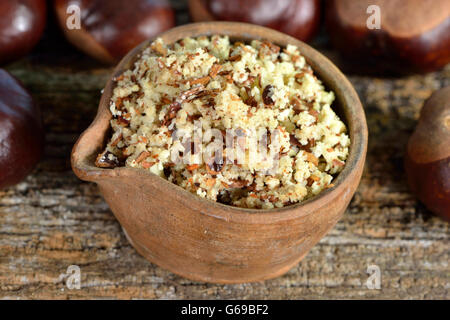 Chestnut, ground seeds / (Aesculus hippocastanum) - Stock Photo