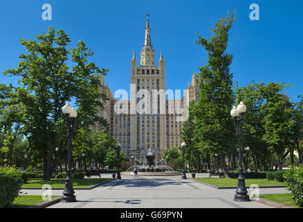 Moscow, View one of the Stalinist skyscrapers known as the Kudrinskaya Square Building, Built in 1948-195 - Stock Photo