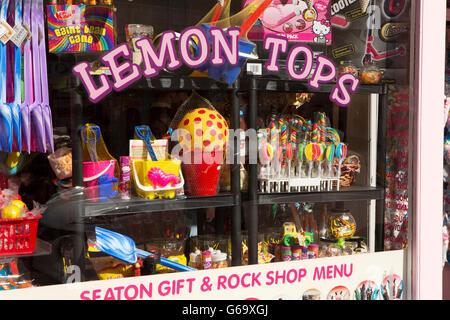 UK, County Durham, Hartlepool, Seaton Carew, colourful window of Lemon Tops beach supplies shop - Stock Photo