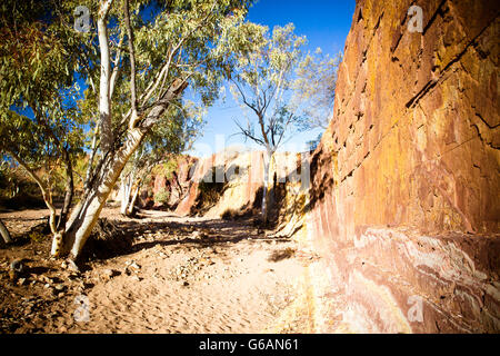 A sacred Aborginal site of Ochre Pits near Alice Springs in the Northern Territory, Australia - Stock Photo