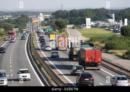 Gdansk, Poland 23rd, June 2016 Lorries at the S6 motorway in Gdansk are seen. As Poland's Deputy PM Mateusz Morawiecki - Stock Photo