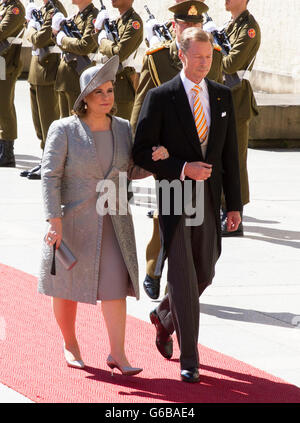 Grand Duke Henri and Grand Duchess Maria-Teresa attend the Te Deum at the Cathedral Notre-Dame in Luxembourg during - Stock Photo