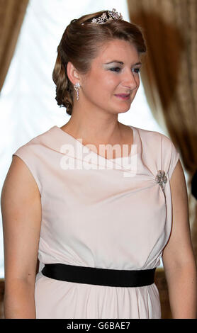 Grand Duchess Stephanie of Luxembourg attends the Te Deum at the Cathedral Notre-Dame in Luxembourg during the National - Stock Photo