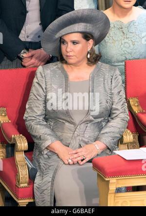 Grand Duchess Maria-Teresa attends the Te Deum at the Cathedral Notre-Dame in Luxembourg during the National Day, - Stock Photo