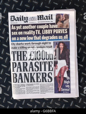 British newspaper Daily Mail front page on the day after the EU Referendum. - Stock Photo