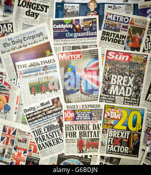 British newspaper front pages reporting on the day after the EU Referendum. - Stock Photo