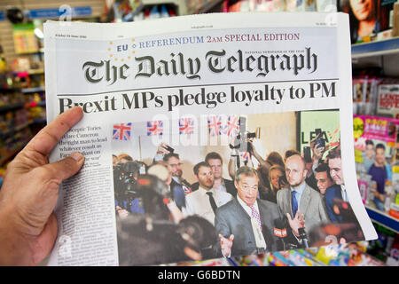 London, UK 24 June 2016 - A reader reads the front page of Daily Telegraph.           British newspaper front pages - Stock Photo