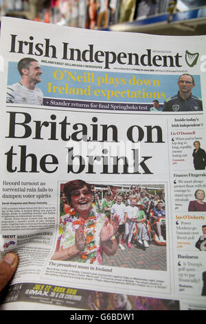 London, UK 24 June 2016 - Irish Independent. British newspaper front pages coverage on the day after the EU Referendum - Stock Photo