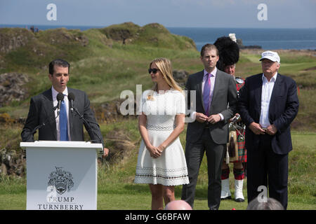 Republic presidential nominee Donald Trump holds a press conference on the 9th hole tee, with his family members - Stock Photo