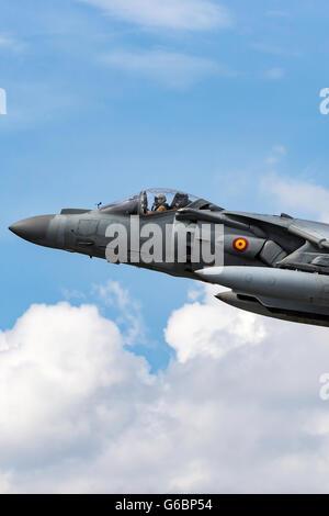 Spanish Navy (Armada Española) McDonnell Douglas EAV-8B Harrier Jump Jet aircraft at the Farnborough International - Stock Photo
