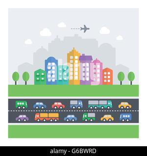Vector illustration of chaotic cityscape. Flat modern icons of vehicles, buildings and homes. - Stock Photo