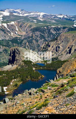 Double Lake, one of hundreds of alpine lakes visible from the Beartooth Highway, an All-American Road on a section - Stock Photo