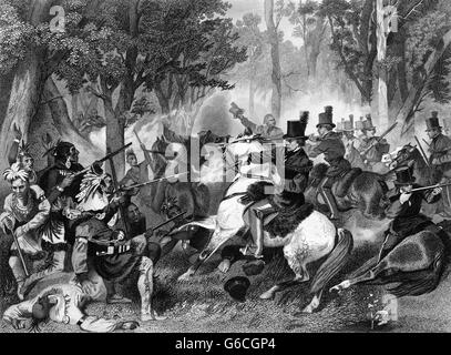 OCTOBER 1813 DEATH OF NATIVE AMERICAN INDIAN SHAWNEE CHIEF TECUMSEH SHOT BY RICHARD JOHNSON BATTLE OF THE THAMES - Stock Photo