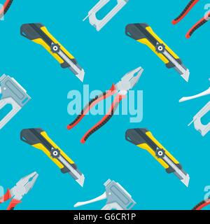 vector colored flat design house remodel instruments tools construction knife, pliers and staple gun decorative - Stock Photo