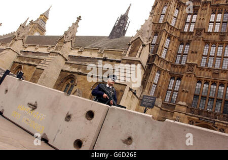 Concrete blocks at Westminster - Stock Photo