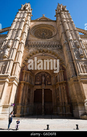 Vertical view of the main portal on the south side of Palma Cathedral, Majorca. - Stock Photo