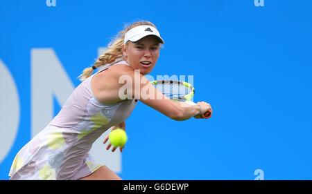 Caroline Wozniacki of Denmark playing Samantha Stosur of Australia during the The Aegon International at Devonshire - Stock Photo
