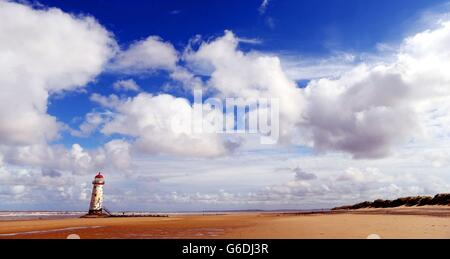 Autumn Weather 2013 - Talacre Lighthouse - Flintshire, North Wales - Stock Photo