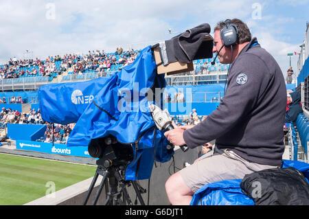 Television cameraman at The Aegon Classic Birmingham, Edgbaston, Birmingham, West Midlands, England, United Kingdom - Stock Photo