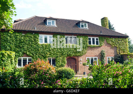 Large ivy-covered house, Wellington Road, Edgbaston, Birmingham, West Midlands, England, United Kingdom - Stock Photo