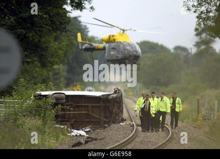 Evesham rail crash - Stock Photo