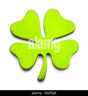 Green Metal Four Leaf Clover Isolated on White Background. - Stock Photo