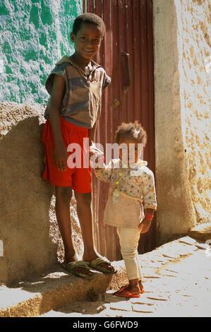 Ethiopian children in the old town of Harar. Ethiopia. - Stock Photo