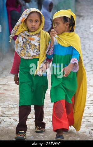 Ethiopian schoolchildren. Muslim children from Harar, Ethiopia - Stock Photo