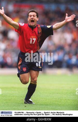 Spain's Javier Manjarin celebrates scoring the first goal for Spain