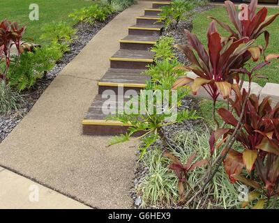 Short Flight of Wooden Steps - Stock Photo