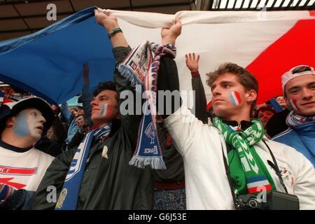 France v Netherlands (Holland) Euro 96 soccer. French fans