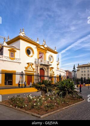 SEVILLE, SPAIN:  View of Real Maestranza de Caballeria de Sevilla Bullring - Stock Photo