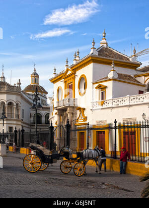SEVILLE SPAIN:  View of Real Maestranza de Caballeria de Sevilla Bullring - Stock Photo