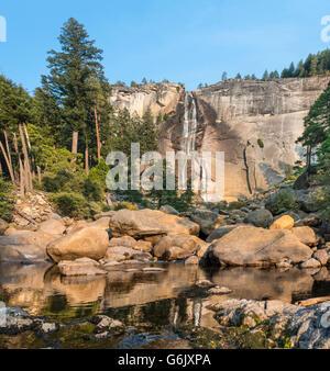 Merced River with Nevada Fall, Mist Trail, Yosemite National Park, California, USA - Stock Photo